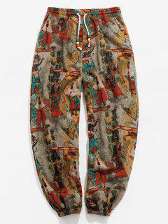 ZAFUL Vintage Printed Drawstring Casual Pants - Multi M