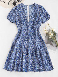 Vestido Manga Corta Estampado Floral - Azul M