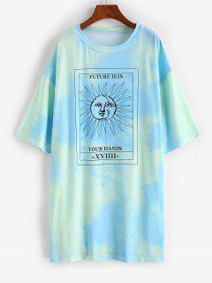 Robe Chemise Teintée Motif De Soleil à Goutte Epaule - Vert L