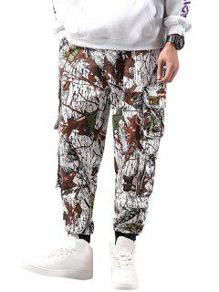 Camouflage Print Pockets Casual Pencil Cargo Pants - White S