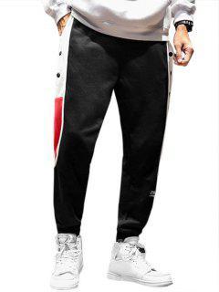 Pantalon Lettre Brodée En Blocs De Couleurs à Pieds Etroits - Noir Xs