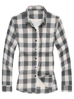 Long Sleeves Checked Casual Shirt - Gray Xs
