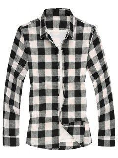 Long Sleeves Checked Casual Shirt - Black Xs