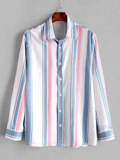 Long Sleeve Striped Print Casual Shirt - Blue Koi M