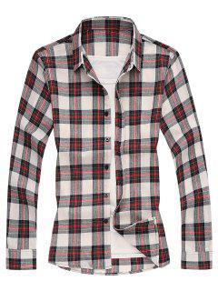 Plaid Long Sleeves Shirt - Red 2xl