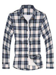 Plaid Long Sleeves Shirt - Blue 2xl
