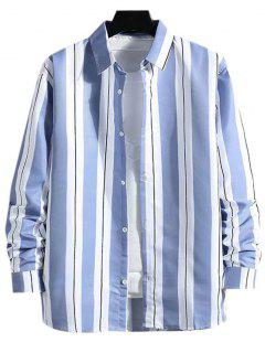 Stripes Color Blocking Casual Shirt - Light Blue S