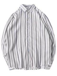 Stripes Curved Hem Shirt - Light Gray M
