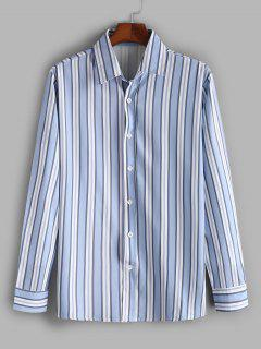 Vertical Striped Print Casual Shirt - Slate Blue S