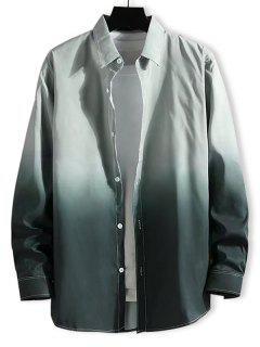 Camisa Ombre Impressão Com Botão E Mangas Compridas - Luz Verde Xs