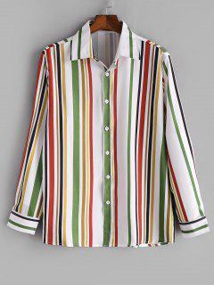 Camicia Casuale Stampata A Righe Verticali Con Bottoni - Verde Felce   2xl