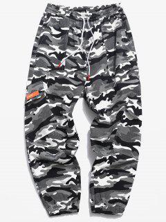 Pantalon CargoDécontractéCamouflage Impriméà Multi-Poches - Noir Xs