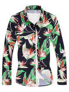 Leaf Printed Long Sleeves Casual Shirt - Cadetblue M