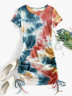 ZAFUL Cinched Tie Dye Ribbed Bodycon Dress - Light Orange S