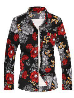 Flower Printed Long Sleeves Shirt - Red M