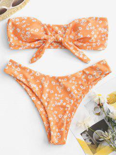 ZAFUL Ditsy Print Tied Bandeau Bikini Swimwear - Dark Orange S