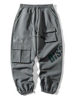 Pantalon Cargo Lettre Réfléchissant Imprimé à Cordon - Cuirassé Gris 3xl