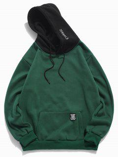Color-blocking Letter Patch Detail Pouch Pocket Fleece Hoodie - Medium Sea Green S