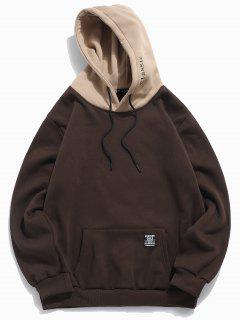 Color-blocking Letter Patch Detail Pouch Pocket Fleece Hoodie - Coffee Xs