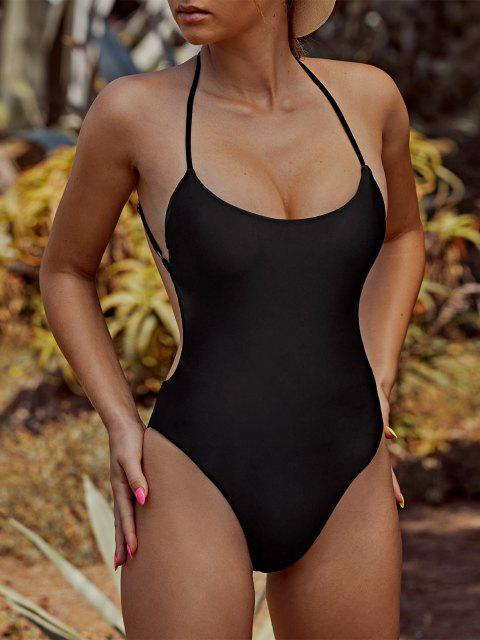 ZAFUL Criss Cross Backless One-piece Swimsuit - أسود S Mobile