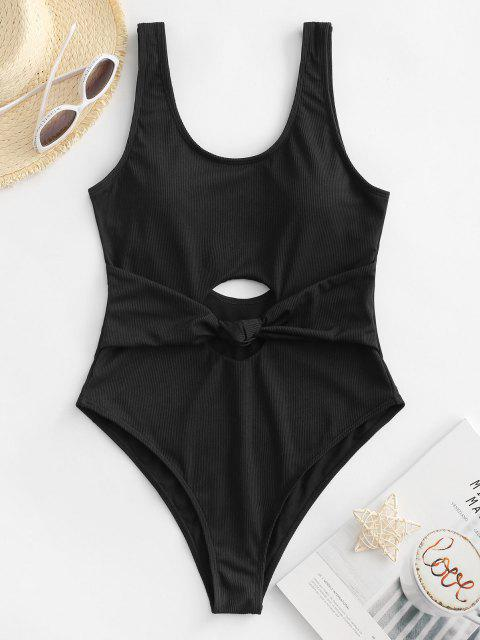 chic ZAFUL Ribbed Knot Cutout One-piece Swimsuit - BLACK M Mobile