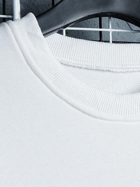 Sweat-shirt Lettre Oriental Imprimée en Blocs de Couleurs - Blanc XL Mobile