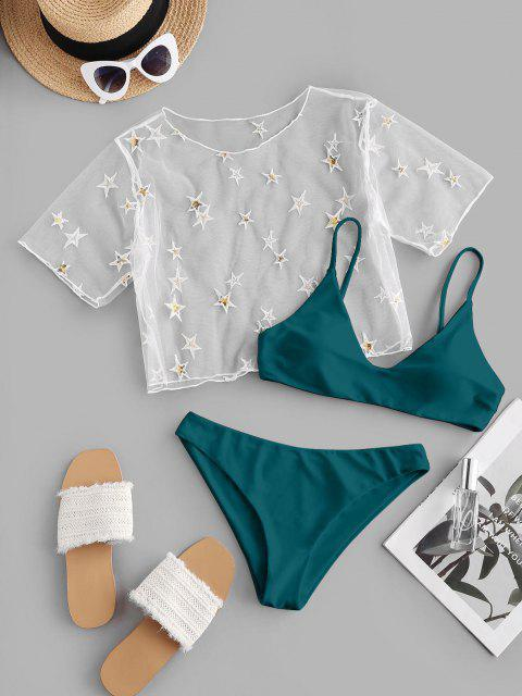 outfit ZAFUL Sequined Star Mesh Low Waisted Three Pieces Bikini Swimwear - DEEP GREEN M Mobile