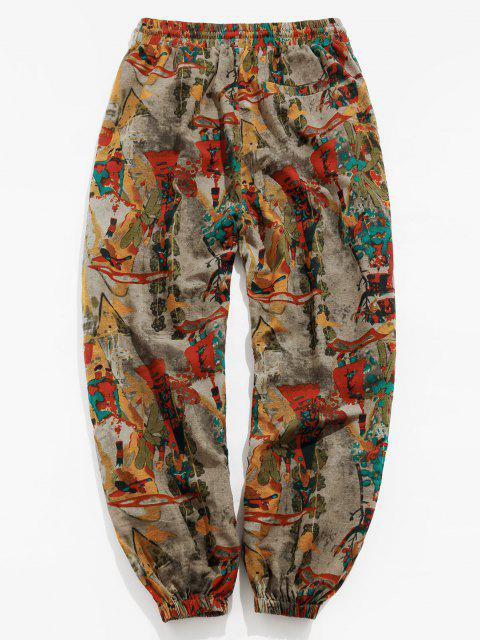 affordable ZAFUL Vintage Printed Drawstring Casual Pants - MULTI L Mobile
