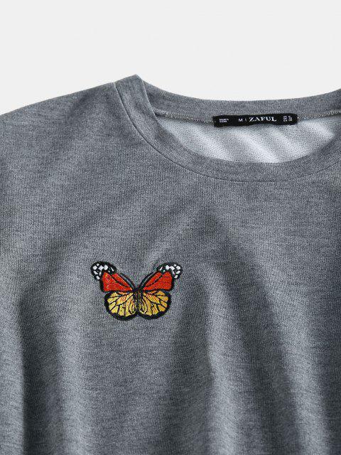 ZAFUL Set de Cintura Alta con Bordado de Mariposa - Gris Oscuro L Mobile