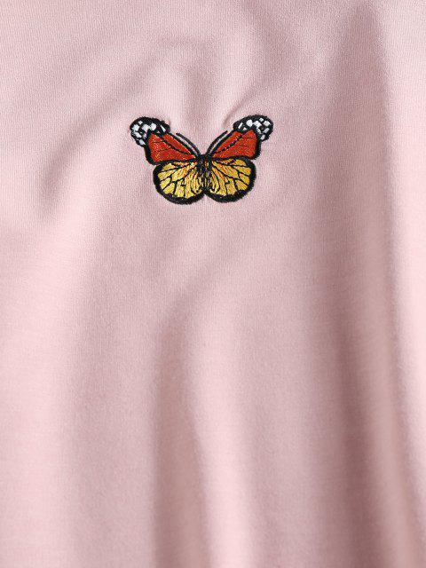 ZAFUL Set de Cintura Alta con Bordado de Mariposa - Rosa claro M Mobile