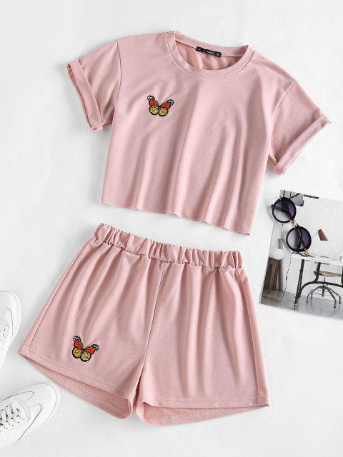ZAFUL Schmetterling Besticktes Shorts Set mit Hoher Taille - Hell-Pink XL Mobile