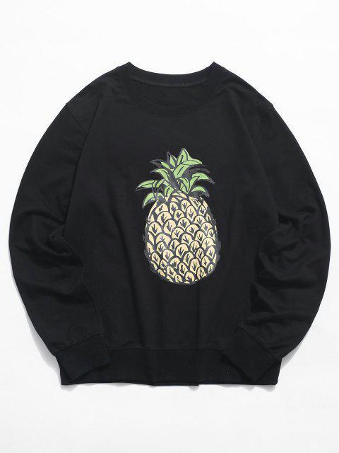 Ananas Grafik Rundhalsausschnitt Lounge Sweatshirt - Schwarz XS Mobile