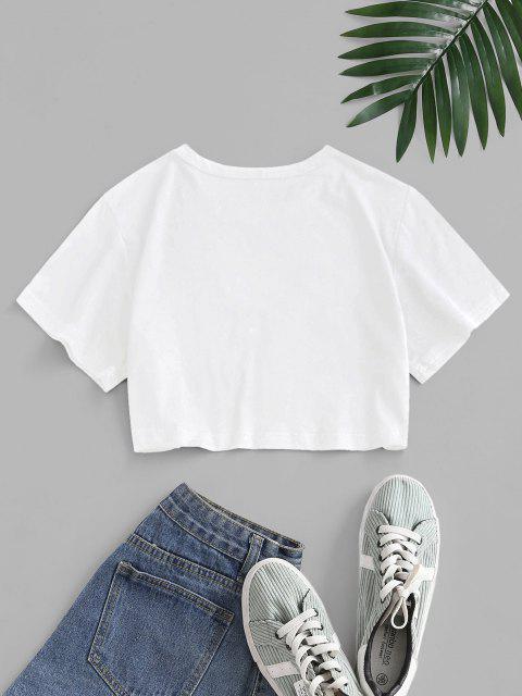 ポップアートスローガン目プリントクロップTシャツ - 白 L Mobile