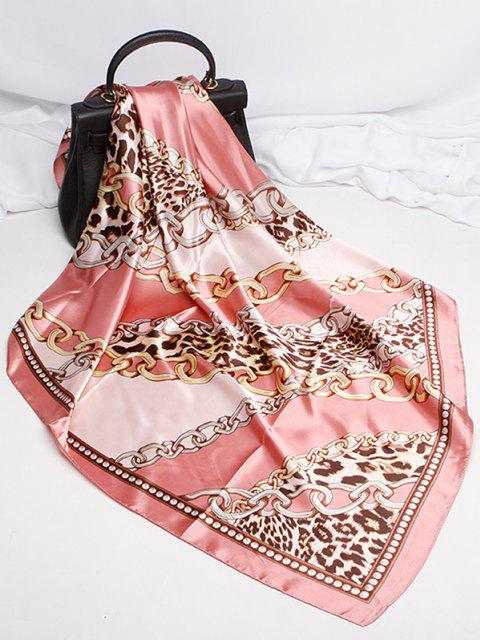 buy Leopard Chain Print Satin Square Scarf - PINK  Mobile