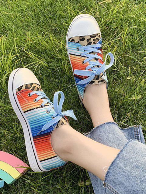 lady Leopard Colorful Striped Canvas Flat Shoes - LEOPARD EU 38 Mobile