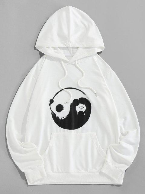 latest ZAFUL Kangaroo Pocket Tai Chi Print Hoodie - WHITE 2XL Mobile