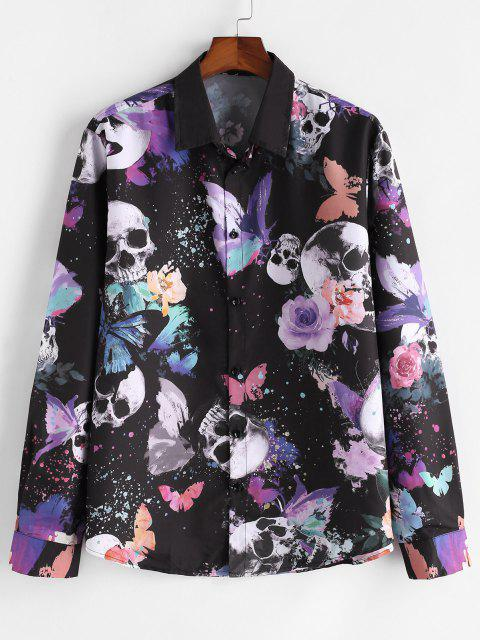 outfit Skull Butterfly Print Button Up Casual Shirt - MULTI M Mobile