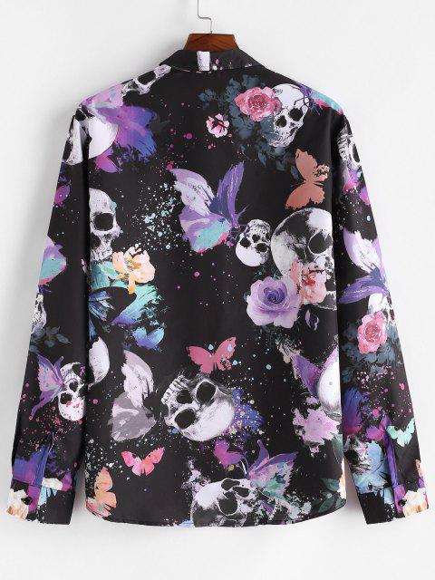 Camisa Casual de Botón de Estampado de Cráneo de Mariposa - Multicolor S Mobile