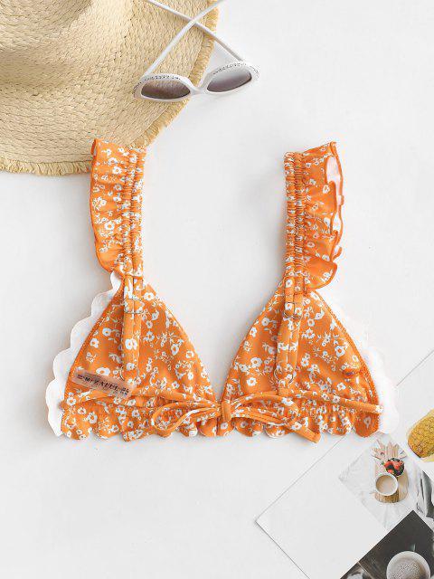 ZAFUL Flower Print Ruffle Scalloped Bikini Top - برتقالي قاتم S Mobile