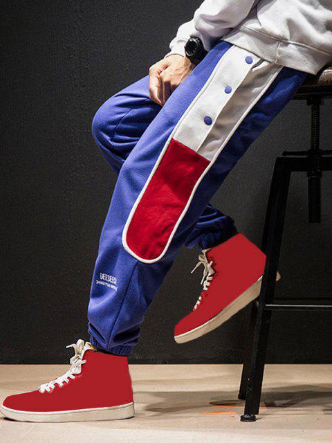Pantalones Pies de Botón de Bordado de Letras y de Color Bloque - Azul S Mobile