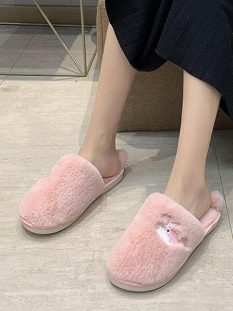 buy Whale Embroidery Fluffy Indoor Slippers - LIGHT PINK EU 38 Mobile