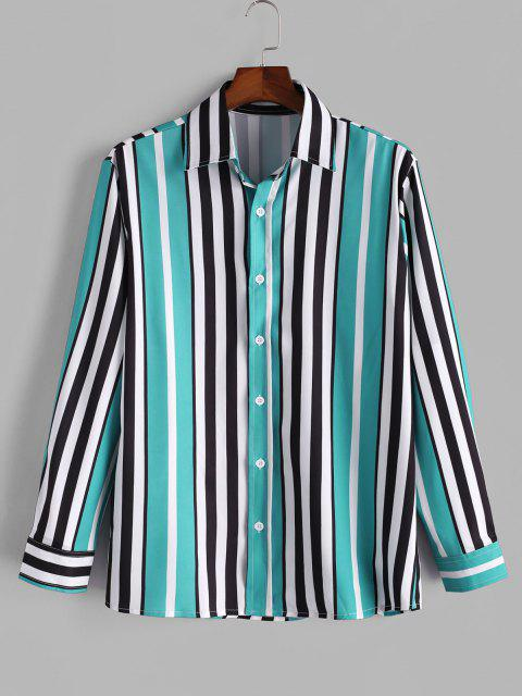 women's Vertical Striped Print Button Up Shirt - MEDIUM TURQUOISE S Mobile