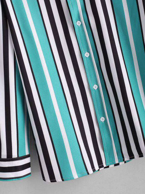 hot Vertical Striped Print Button Up Shirt - MEDIUM TURQUOISE XL Mobile