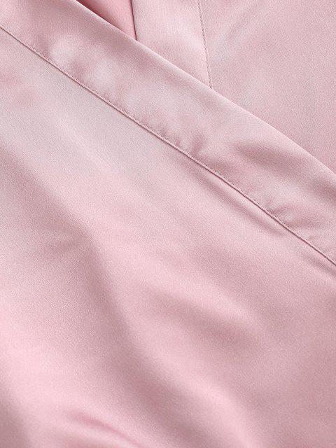 trendy Silky Satin Robe - LIGHT PINK 2XL Mobile