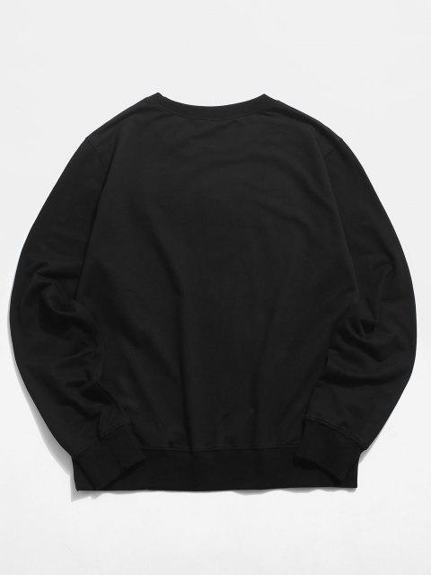 latest Crew Neck Cat Butterfly Graphic Lounge Sweatshirt - BLACK S Mobile
