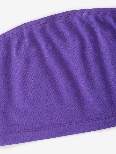 shop Bandeau Top and Camo Jogger Pants Set - PURPLE M Mobile