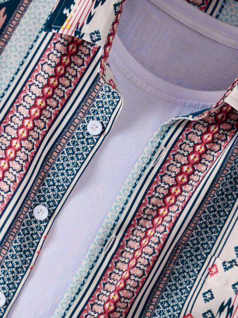 Camisa Asimétrica Rayada Estampado Tribal - Azul 3XL Mobile