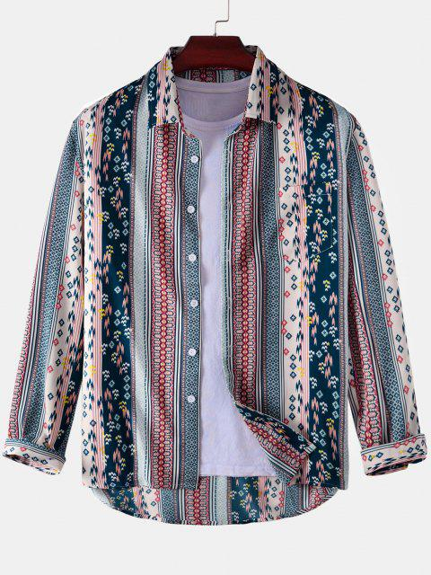 fancy Tribal Stripes Graphic Print High Low Shirt - BLUE 3XL Mobile