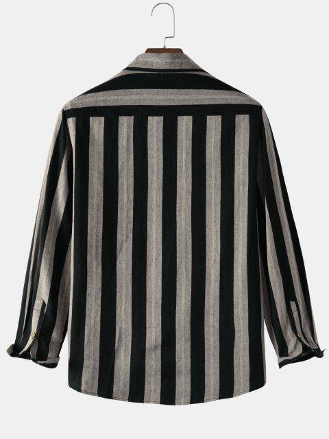fashion Color Blocking Stripes Pocket Patch Shirt - MULTI XL Mobile