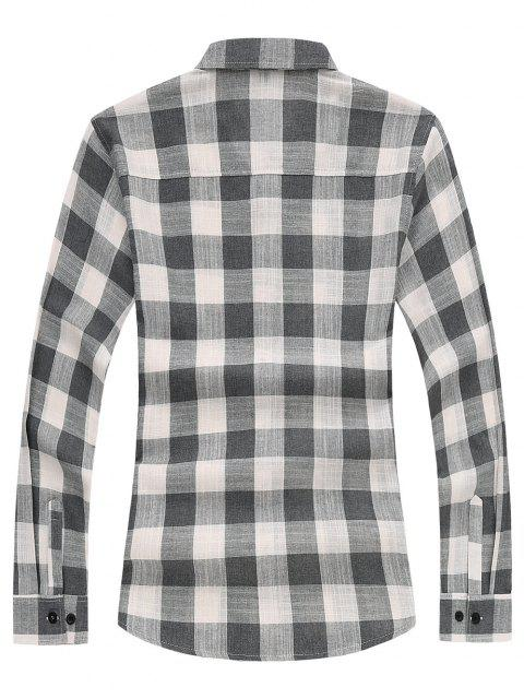 chic Long Sleeves Checked Casual Shirt - GRAY XS Mobile